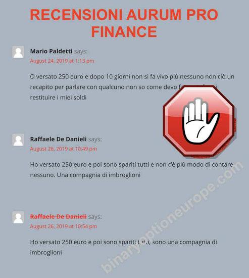 aurum pro finance recensioni e opinioni truffa