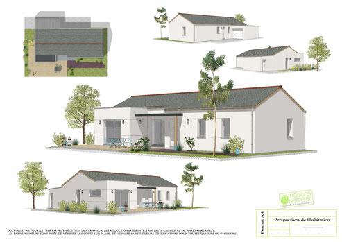 maison tradtionnelle de plain pied avec toiture ardoise et enduit blanc