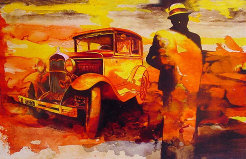 L'automobilista perduto / The lost motorist (2012) olio su legno - oil on wood, cm (45 x 28,5)