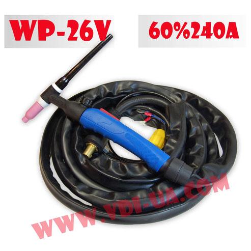 Горелка ТИГ сварки WP-26V с вентилем и кнопкой