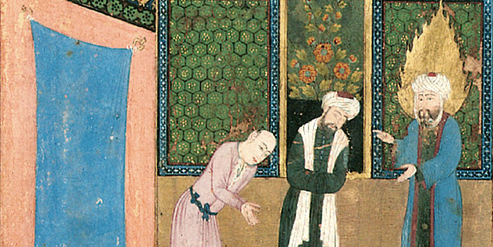 Jesus im Gespräch mit einem Frommen und einem Sünder. Persisches Manuskript (1497)