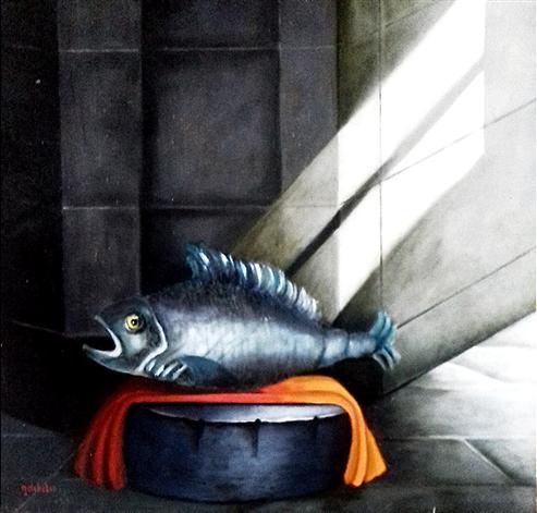 Water in water   Bouddha        olieverf op canvas   80cmx80cm   Prijs; 450 euro inc btw