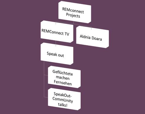 Der Aufbau von REMconnect Projects und seine Ableger, die sich in der Zeit aus REMconnect Projects entwickelt haben. Es kommen immer wieder neue Projekte dazu.