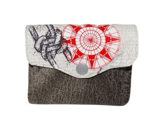 Petit porte-monnaie accordéon  homme tissu blanc cassé rose des vents  faux cuir gris 3 compartiments