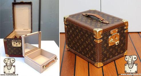Boîte à flacon - M21828 Washable beige vuittonite interior  Dimensions: 23 cm x 30 cm x 21 cm   Price of a new bottle box at Louis Vuitton.