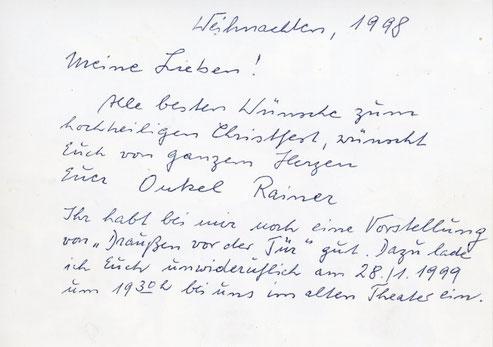 Weihnachtsgrüße, kurz vor seinem Tod  geschrieben- Karte von Ulla Schürjohann