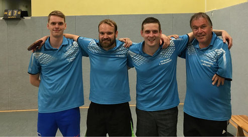 Die erfolgreiche dritte Mannschaft (v. l. Peer Stobbe, Matthias Baldauf, Stephan Scharrenbroich und Jürgen Möller)