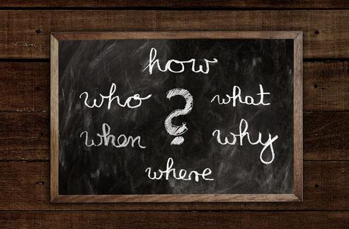 Tafel mit Fragen