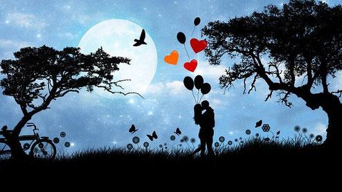 Un couple dont on ne distingue que l'ombre s'embrasse en pleine nature. C'est la luit. Des ballons de baudruche en forme de coeur sont au-dessus d'eux.