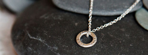 Emma Hedley silver personalised hoop pendant necklace