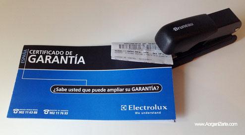 Grapa el ticket de compra junto a la garantía - www.AorganiZarte.com