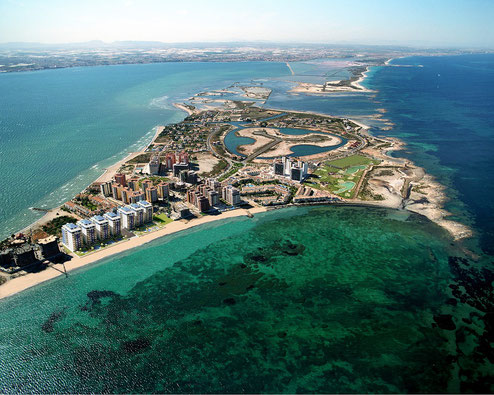 Aerial view of La Manga del Mar Menor, bathed by the Mediterranean Sea and the Mar Menor.