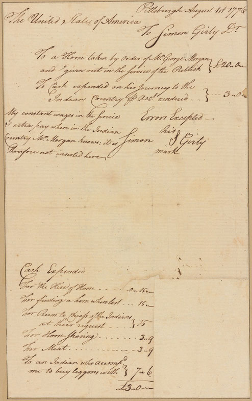 Simon Girty invoice, 1776