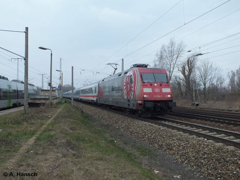 Auch Eintracht Frankfurt ist per Lokwerbung auf Deutschlands Schienen vertreten. Sie ziert die 101 110-5, die am 18. März 2014 durch Leipzig-Thekla fährt