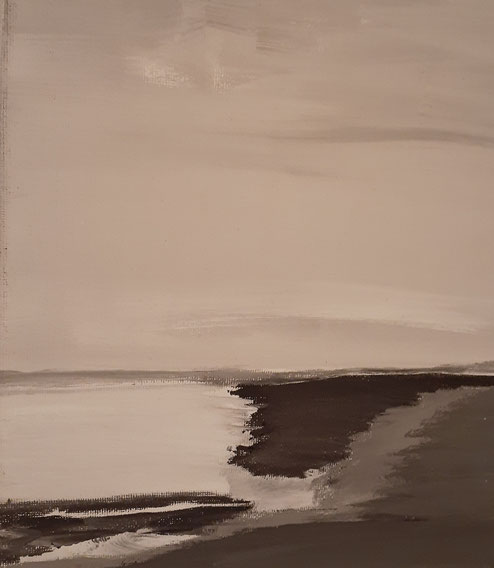 """2019 C604  Inlet Acrylic on Canvas  May  2019  10.00"""" H x 08.00"""" W  