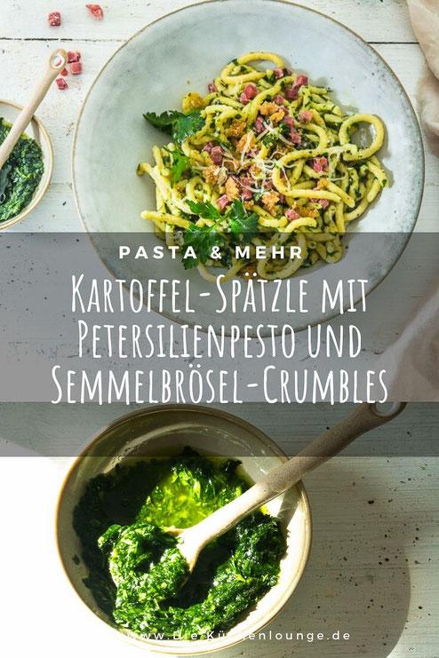 Kartoffel-Spätzle mit Petersilienpesto und Gouda-Crumbles