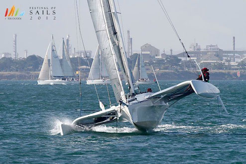 Trimaran Bare Essentials racing in Geelong, Australia
