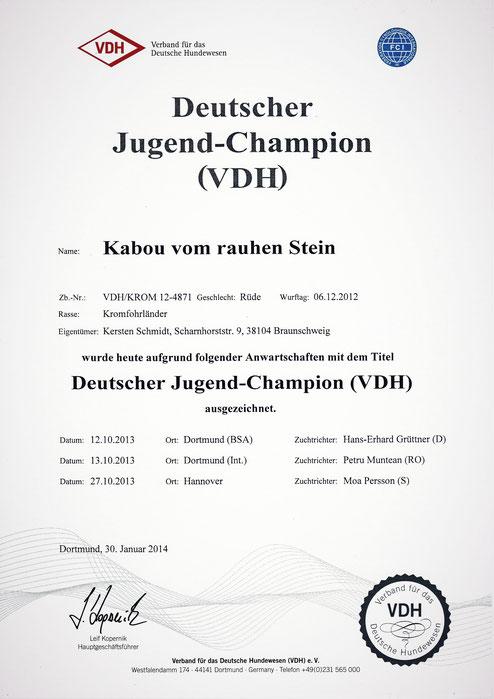 Kabous VDH-Urkunde für den Deutschen Jugend-Champion (VDH)