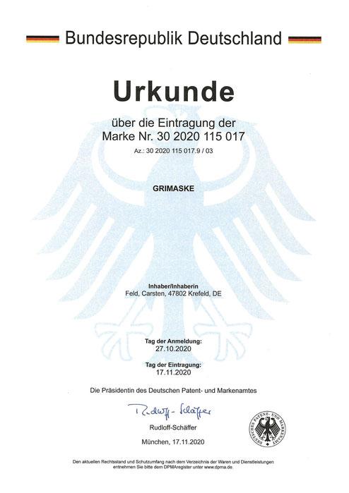Eingetragen und geschützt: Grimaske® - Kein Virenübertragung durch Virusinaktivierung bei einer Grimaske® von Feld textil GmbH in Krefeld
