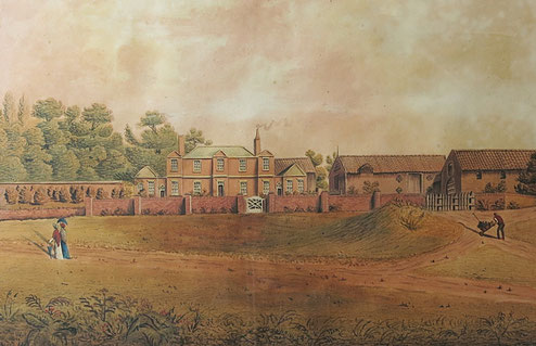 English 19th century folk art watercolour of a country house