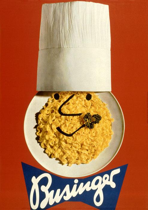 Werbeplakat für Businger-Teigwaren aus dem Jahr 1966; Entwurf: Jörg Wey  (Plakatsammlung der Schule für Gestaltung Basel) Format: 128 x 90,5 cm