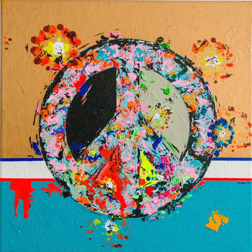 "FREIDE FREUDE EIERKUCHEN (PEACE JOY PANCAKE) 2018 exclusively for ""WINDOWS"" Exhibition in GX Gallery London in NOV 2018, 40cm x 40cm Acrylics on Canvas"