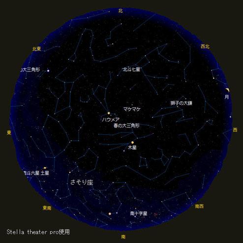ゴールデンウィークのロタ島の夜空。南十字星が比較的高いところに見えます。