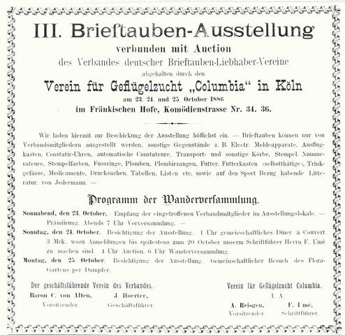 Brieftauben-Ausstellung, Verband Deutscher Brieftaubenzüchter, Geschichte der Brieftaube, Brieftaube