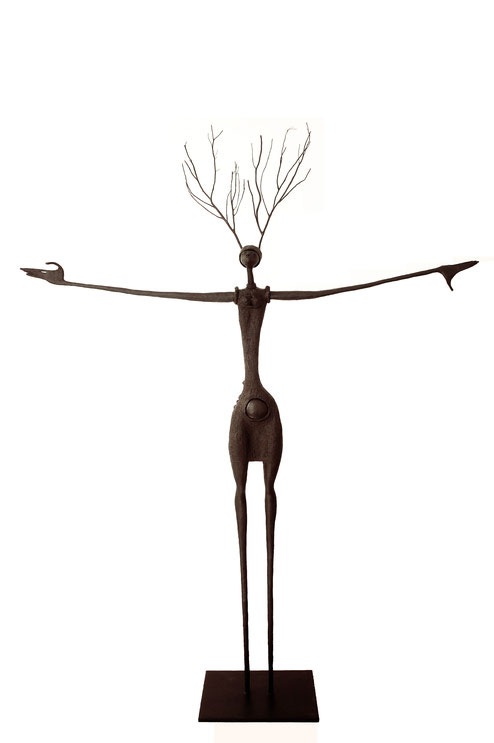 Open Arms | Fish & Trees series, interchangeable hats, 2015,  bronze, black patina, 2/8,  215 x 165 x 30 cm