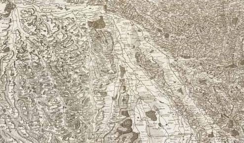 Carte de Cassini de la région de Marciac vers 1750
