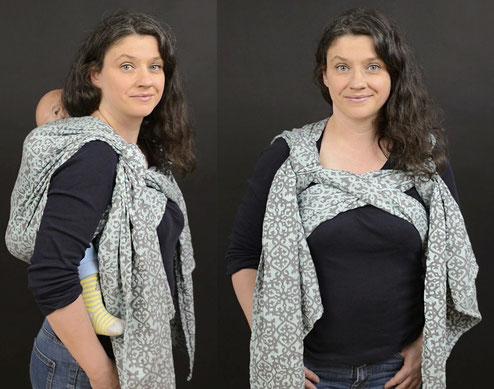 Tragetuchbindeweisen während der Schwangerschaft - Kleinkind auf dem Rücken tragen - bauchfreie Bindeweisen