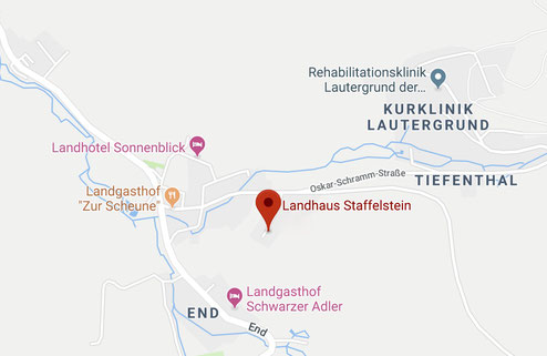 Lageplan Ferienwohnungen Bad Staffelstein in Schwabthal