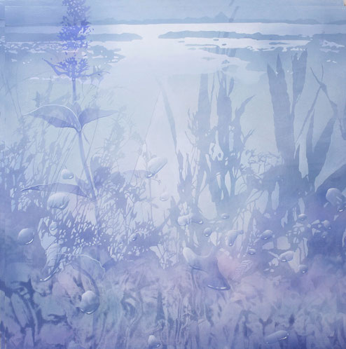 光景 アクリル風景画 幻想的な絵  水滴