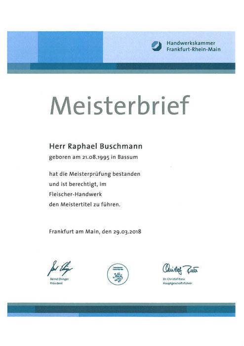 Raphael Buschmanns Meisterbrief des Fleischerhandwerks.