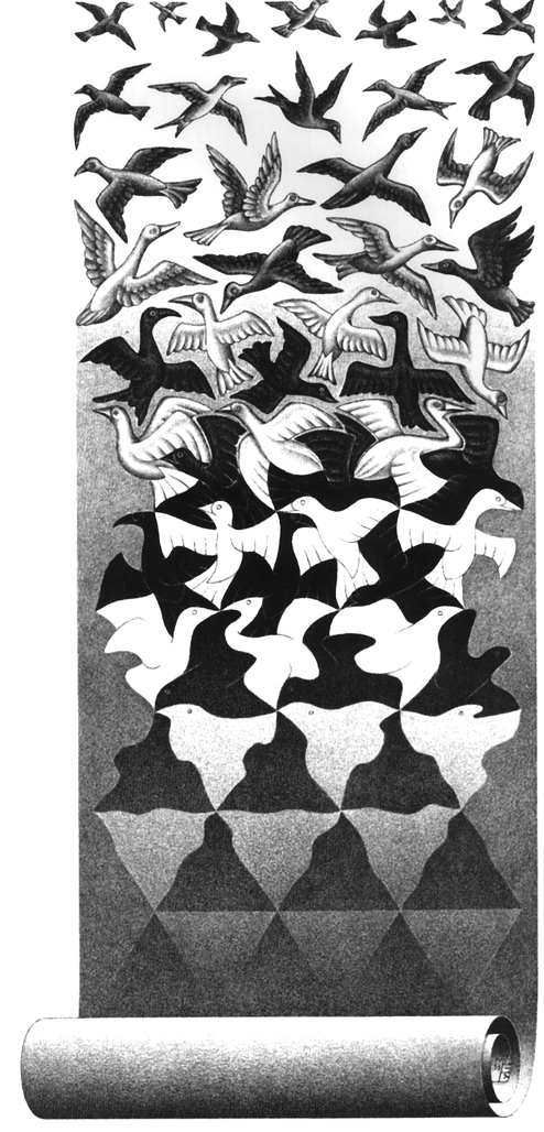 M.C. Escher; Befreiung, April 1955   (Haags  Gemeentesmuseum)