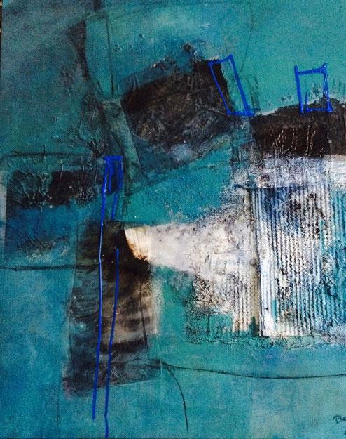 Bild Acryl Mischtechnik auf Leinwand mit Asche und Bitumen Name Frühlingsgefühle
