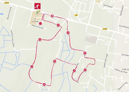Le parcours de la course composé de 3 tours