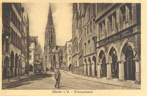 Rechts Gaststätte ,Zur alten Börse' - Sammlung Stoffers (Münsterländische Bank Thie - Stadtarchiv)