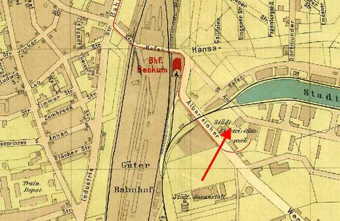 Elektrizitätswerk - Stadtplan 1905