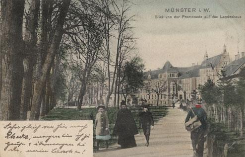 Promenade am Landeshaus - Das Torhäuschen versteckt sich hinter Bäumen in der Bildmitte