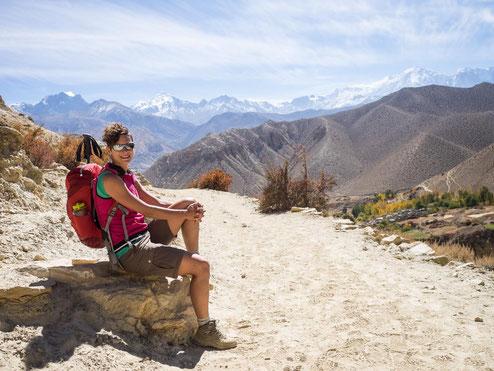 Tolle Aussicht auf die Himalaya-Gebirgskette