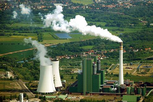 Luftaufnahme vom Braunkohlekraftwerk Schkopau