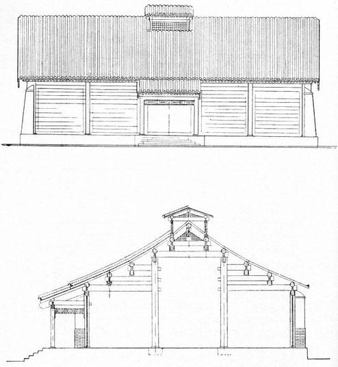 Vue d'un grenier.LU Lien-tching : Les greniers publics de prévoyance sous la dynastie des Ts'ing. Jouve & Cie, Paris, 1932
