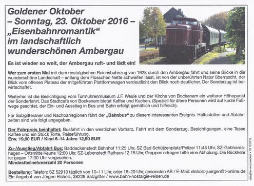 Goldener Oktober; Eisenbahnromantik im landschaftlich wunderschönen Ambergau