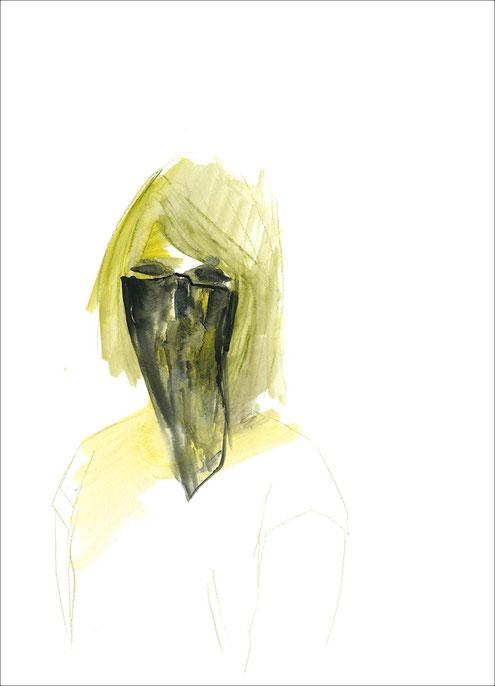Mädchen mit einem schwarzen Tuch, 2011, Aquarell und Buntstift auf Papier, 29,7 x 42 cm