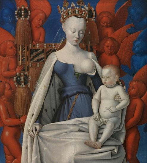 Jean Fouquet, Diptychon von Melun, um 1455, rechter Flügel,  Antwerpen, Koninklijk Museum voor Schone Kunsten