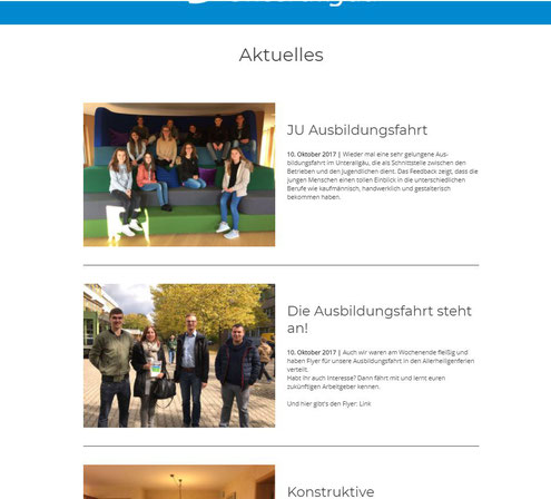 Homepage Junge Union