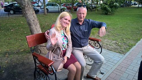 Besuch des Berufsschulkolleg in Vileyka. Der Direktor und die Deutschlehrerin.