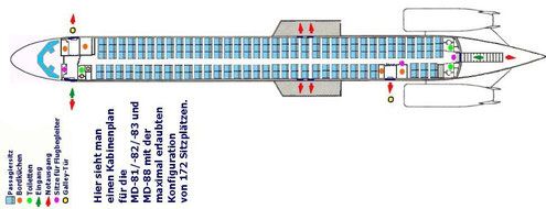 Maximale Konfiguration mit 172 Sitzplätzen/MD-80.com