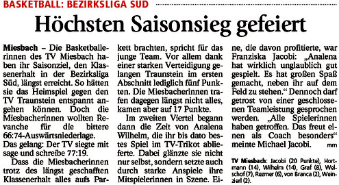 Bericht im Miesbacher Merkur am 19.4.2018 - Zum Vergrößern klicken